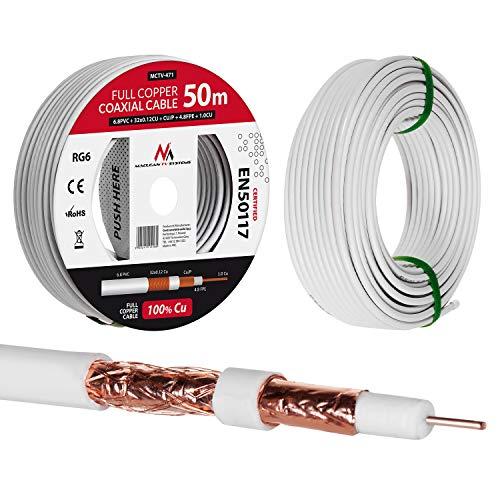Maclean MCTV Cable de Antena coaxial RG6 Cobre Puro 100% CU Cable de Antena de TV satelital coaxial (50m)