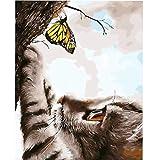 Bricolage peinture à l'huile par numéros kit pour adultes coloré mignon chat photos par numéros animaux acrylique mur art peinture A3 60x75 cm