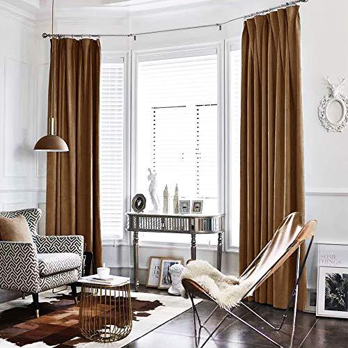 jinchan Gold Brown Curtains Velvet Drapes Bedroom Window Curtains 95 Inch Long Living Room Rod Pocket Window Treatment Set 2 Panels