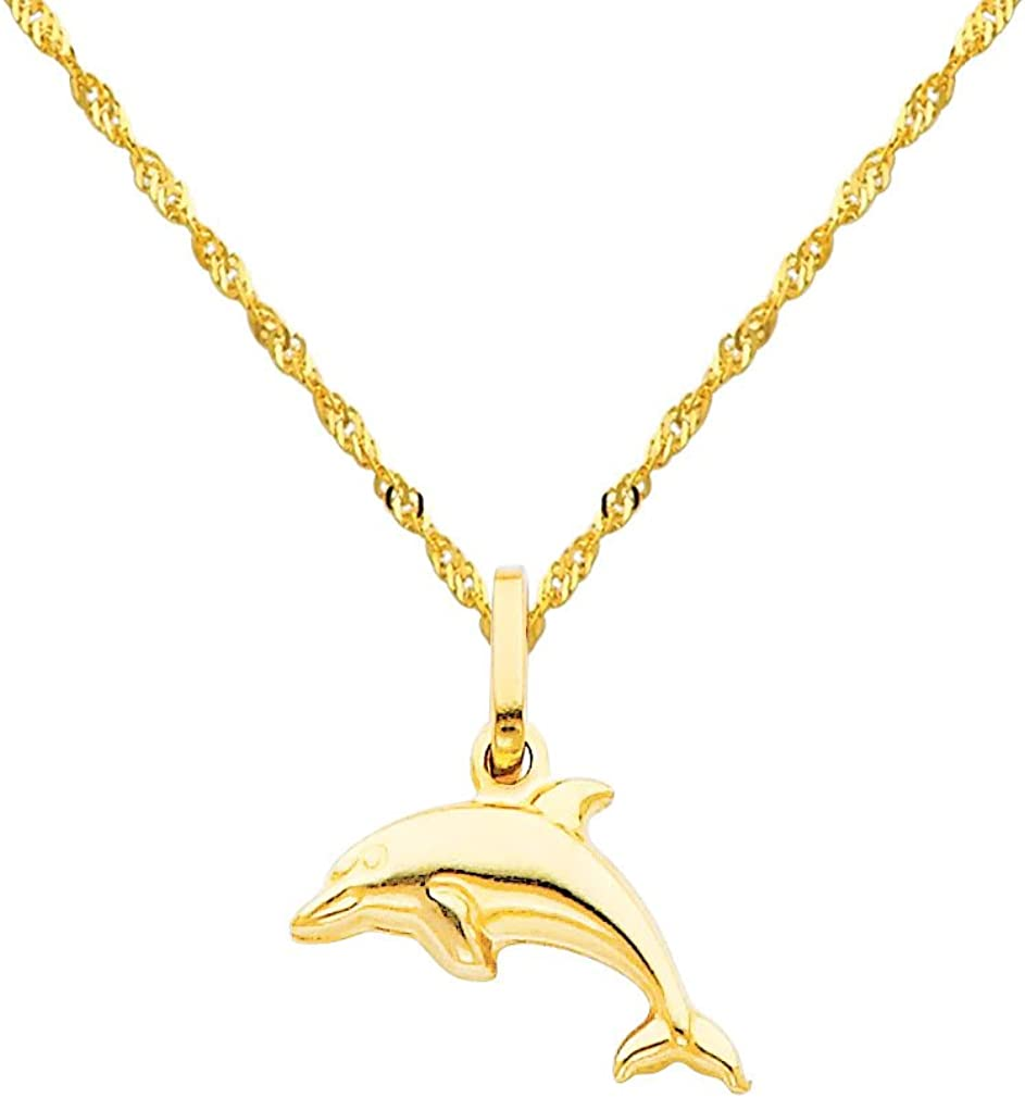 The World Jewelry Center 14k Yellow Gold Dolphin Pendant with 1.2mm Singapore Chain Necklace