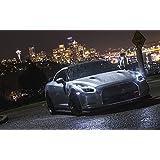 絵画風 壁紙ポスター (はがせるシール式) 日産 GT-R 前期型 2007年 ブラック with NY夜景 ニッサン キャラクロ NR35-022W2 (ワイド版 603mm×376mm) 建築用壁紙+耐候性塗料