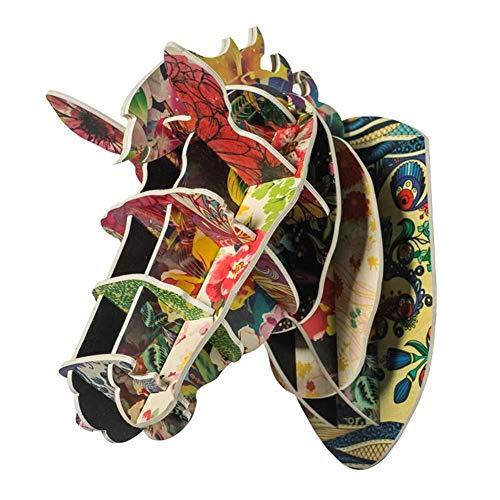 MAMINGBO Cabeza de Caballo Escultura de Pared Cabeza de Animal Decoración de Pared Colgante de Pared de Madera Cabeza de Caballo Decoración for el hogar Regalo Artesanal (Color : A)
