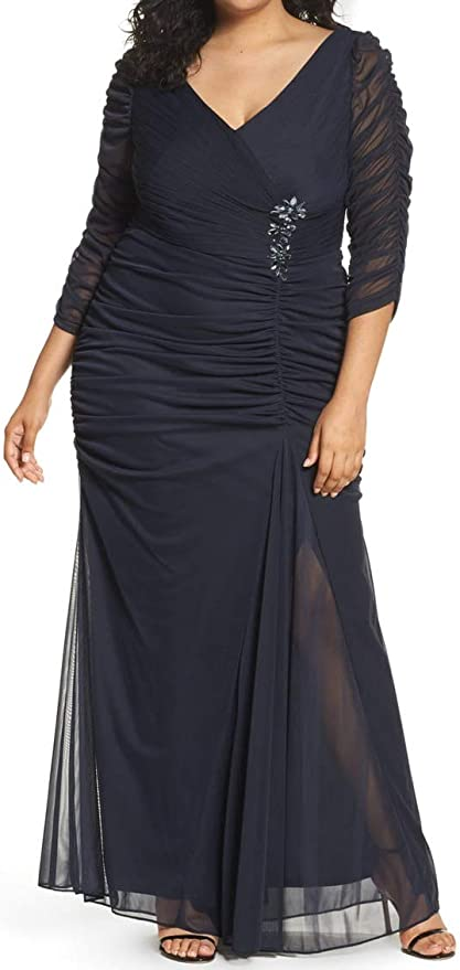 1940s Evening, Prom, Party, Formal, Ball Gowns Adrianna Papell Womens Plus-Size Three-Quarter Sleeve Ruched Gown  AT vintagedancer.com