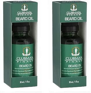 Clubman Pinaud Beard Oil, Balanced Moisture for Facial Hair and Skin, 1 oz, 2-Pack