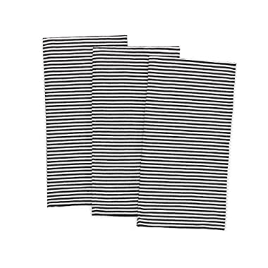 Pacific Home 100% Cotton Pinstripe Soft Weave Dish Towels - Set of 3 - (Black/White)