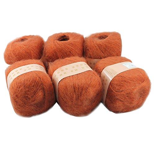 Artilin 6 Skeins Smooth &Warm Angola Mohair Plush Cashmere Wool Knitting Yarn 300g,Deep Orange