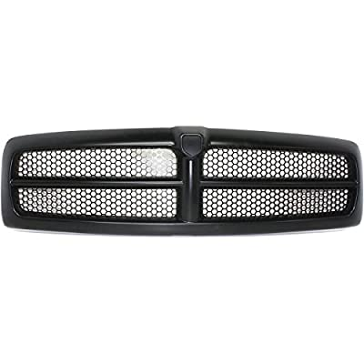 New Front Grille For 1999-2002 Dodge Pickup Fullsize For Sport Models, Matte-Black Honeycomb, Black Frame, Fits 1999-2001 1500 And 1999-2002 2500/3500 Series CH1200245 QR33DX8AE