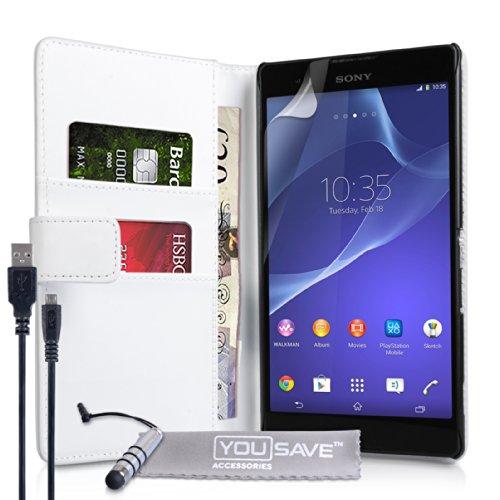 Yousave Accessories® Kompatibel Für Sony Xperia T2 Ultra Tasche Weiß PU Leder Brieftasche Hülle Mit Mini Handgriffel Stift Und USB-Kabel