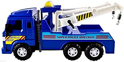 Big-Daddy Medium Duty Friction Powered Super Police Wrecker Tow Truck Blue Truck by Big Daddy
