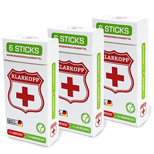 Klarkopp Nahrungsergänzungsmittel 18 Sticks (9 Rationen) Afterparty Drink Made in Germany, mit Cholin