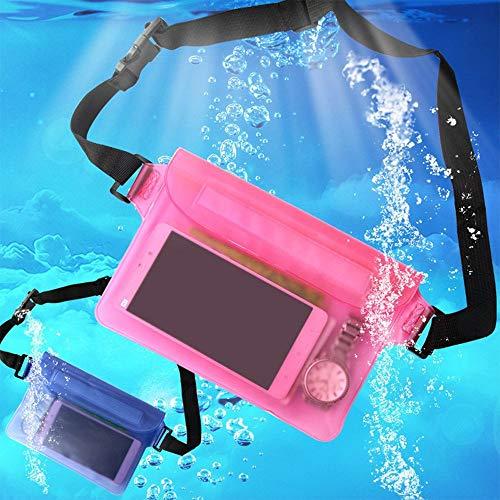 xiaox5 Bolsa impermeable con correa de cintura para teléfono celular, bolsa seca para llaves de tarjeta de efectivo, cartera con cremallera, ideal para navegar, senderismo, natación, buceo, snorkeling