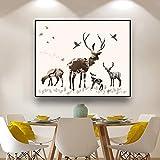Bosque Paisaje Lienzo Pintura Ciervo Paisaje Carteles Impresiones Arte de la pared Imágenes Sala Decoración 60x40cm