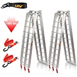 LKV 7.5ft Motorcycle Loading Ramp Aluminum Folding Truck Ramps with Rubber Tipped Fingers for ATV UTV 4 Wheelers Snow Blower Lawn Mower Pickup 1500lbs Capacity, a Pair
