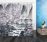 dsgrdhrty Chinesische Landschaftsmalerei'Pflaume Badezimmer Duschvorhang dekorativen Stil wasserdicht 180x180