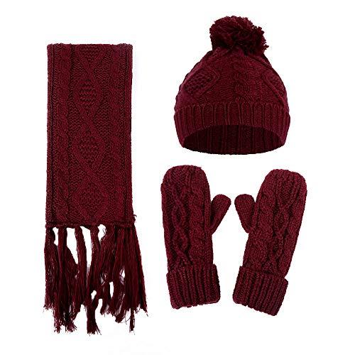 Alikeey Gebreide muts voor dames, haken, bont, wol, gebreid, dikke kabel + sjaal + handschoenen, pak