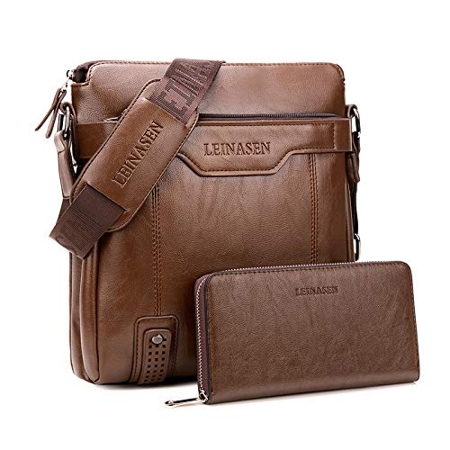 CMZ Backpack Solid Color Retro Backpack Men's Shoulder Bag Vertical Business Messenger Bag PU Leather Large Capacity Backpack