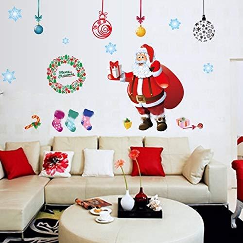 No brand Home kerstfeest ZNSDKL kerstfeest glasvetrine afneembare sticker festival muursticker zelfklevend grootte 60 x 90 cm