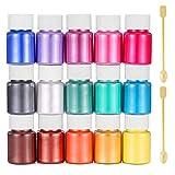 Funxim Pigmentos en Polvo 15pcs × 10g, Pigmentos para Resina Epoxi, Natural Mica Tintes para DIY Slime, Jabon, Pintauñas, Sombra de Ojos, Cera