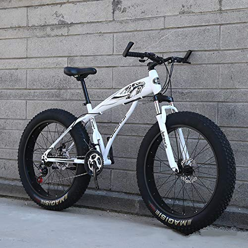 CCHM 24'/26' Wheel Mountain Variable Speed Bike, Unisex Wide Tire Thick Wheel Off-Road Snow Bike, Adult Male and Female Students Bicycle,White,26 Inch 27 Speed