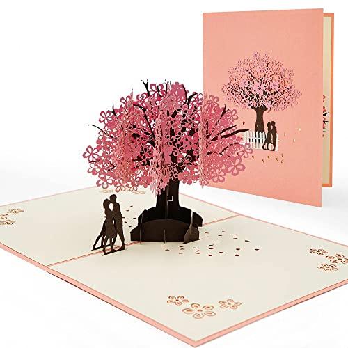 Hochzeit Karte 3D Hochzeitskarte POP UP 3D Pop-Up Hochzeitskarte Grußkarte Rosa Kirschblüte Valentinstagskarte für Hochzeitstag, Hochzeitsgeschenk