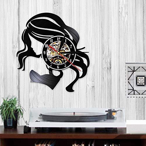Rgzqrq Beauty Lady Salón de Belleza Logotipo Comercial Reloj de Pared de Cuarzo silencioso Retro Disco de Vinilo Cuidado del Cabello Mujer Hermosa Reloj de Peluquero Logotipo (30x30cm)