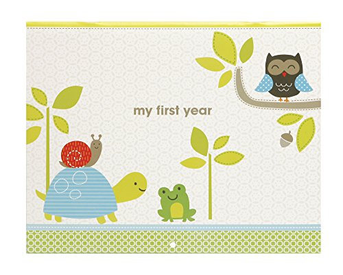 C.R. Gibson Woodland Animals First Year Baby Calendar for Newborns Memory Book with Stickers, 11'' L x 18'' H