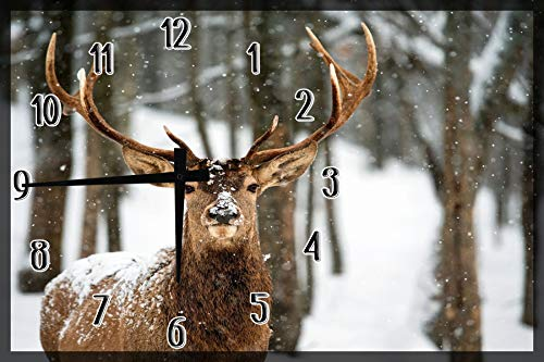 American Unlimited Wood Wall Clock Elk Deer in Snow Animals Large Clock Wall Art 12 x 18 inch Home Decor