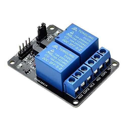 Yizhet 2 Kanal Relais Modul DC 5V Relaismodul mit Optokoppler für Raspberry Pi Arduino TTL Logik PIC DSP AVR ARM Relais Modul-Brett