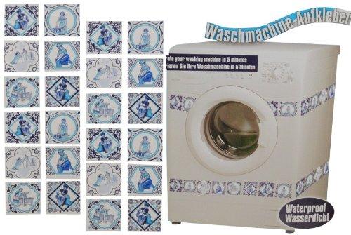 alles-meine.de GmbH Aufkleber / Sticker - z.B. für Maschmaschine - wasserfest - Kacheln 48 Stück blau - Tattoo Waschmaschinen Deko - Badezimmer