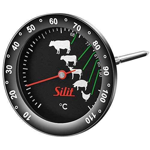 Silit Sensero Fleischthermometer analog 6,2 cm, Bratenthermometer mit Garpunkte-Markierung für Steak Rind Kalb Lamm Schwein Geflügel, Sonde bis 110°C