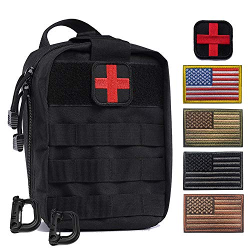 R.SASR Tactical Medical Kit Molle Pull Away Pouch, Tactical MOLLE Medical First Aid Kit Utility Pouch (Black)