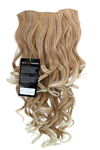 Extension à clipper composée de7 crochets, Perruque ¾, frisée, mélange de blond clair 50 cm H9503-27T613