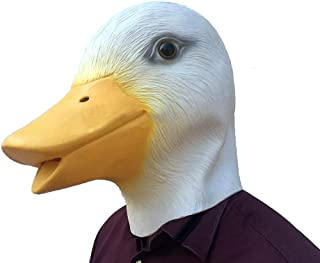 QMMD Latex Animal Mask - Halloween Mask - Duck Head Mask - for Halloween Cosplay Party,White
