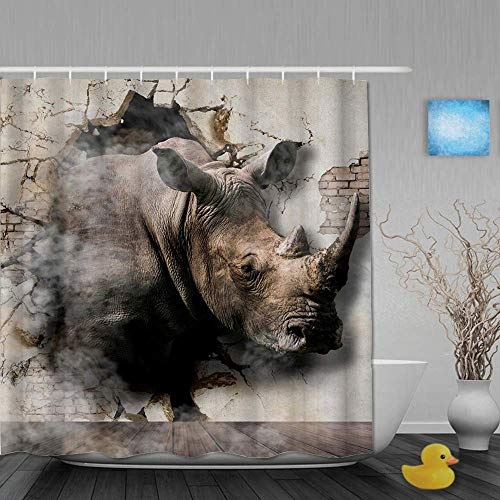 N / A Dekoration Duschvorhang 3D Nashorn kommt aus den Wänden Badvorhänge Wasserdichter Stoff Badezimmer Dekor Set mit Haken