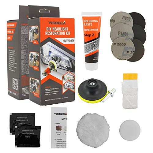 Visbella DIY Vehicle Headlight Restoration Kit, Heavy Duty Drill Based, Ultimate Headlight Restore Cleaner with UV Protection - Clear Coat