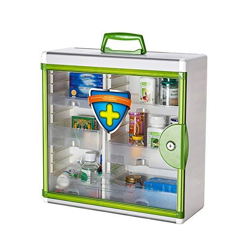 Ajac Wandmontage met EHBO-slot, aluminium frame, duurzaam, medicijnbox, 2 sleutels, 39,7 x 16,5 x 39,2 cm
