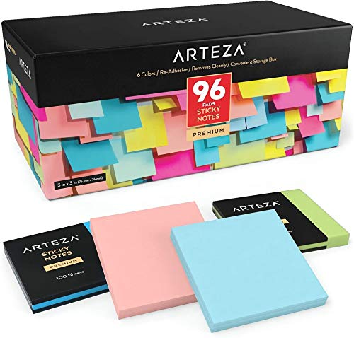 Arteza Sticky Notes, 96 Pads, 100 Sheets Each, 3 x 3 Inches, 6 Assorted Colors, Re-Adhesive, Office Supplies for to-Do Lists, Reminders, and Studying