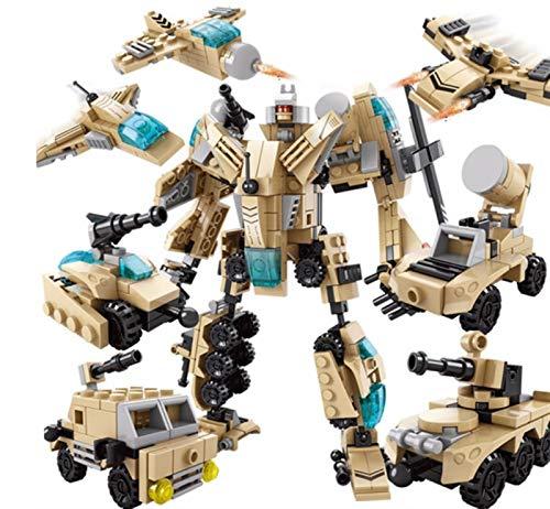 JINGZHUN Juguetes de deformación, Bloques de construcción de ensamblaje de Juguete Compatible con Lego Robot Deformación Montaje de Juguete Blindorado Aeroplano Chico Estéreo 8 en 1