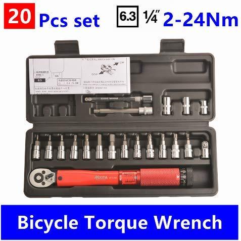 HHHHGGGG 25 Teile/Satz Beruf Bike Tool, 1/4 Inch Drive Torque Wrench Set – 2 to 24 Nm – Bicycle Maintenance Kit, Motorcycle Multitool, für unterwegs, Zuhause, Hobby, Freizeit