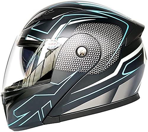 YCRCTC Casco de motocicleta abatible, certificación DOT/ECE integrada, modular integrada, casco de seguridad, locomotora, casco de cara completa, doble visera para hombres y mujeres