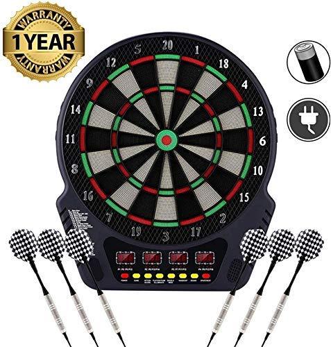 Serface Elektronische Dartscheibe - Dart Scheibe E Dartboards Dartautomat mit 6 Dartpfeile - 27 Spielen und 243 Varianten für 16 Spiele (Schwarz Style)
