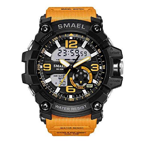 DSNGZ Armbanduhr Schock Militäruhren Armee Herren Armbanduhr Led Quarzuhr Digtial Dual Time Herrenuhr Sportuhr Armee, Orange