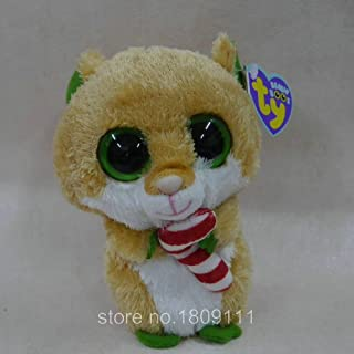 IN HAND NEW TY BEANIES BOOS SERIES STUFFED ANIMAL BIG EYES Solid eyes~Candycane Hamster 15cm Cute Plush doll