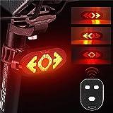 Fuaensm LED Fahrrad Rücklicht USB Intelligenter Blinker mit drahtloser Fernbedienung Elektronisches Warnlicht mit Ladehupe wasserdichte Nacht Warn Rücklichter