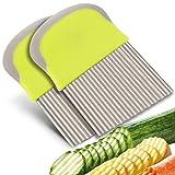 FRIUSATE 2 Rallador de verduras de acero inoxidable, cortador ondulado, cortador de patatas para cortar patatas, batatas, frutas o verduras