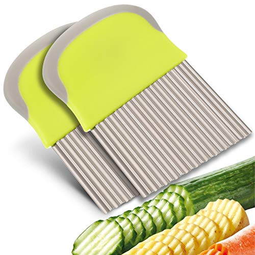 FRIUSATE 2 Stück Wellenschneider, Gemüsehobel Edelstahl Wellenschneider Kartoffelschneider zum Schneiden von Kartoffeln, Süßkartoffeln und Obst oder Gemüse