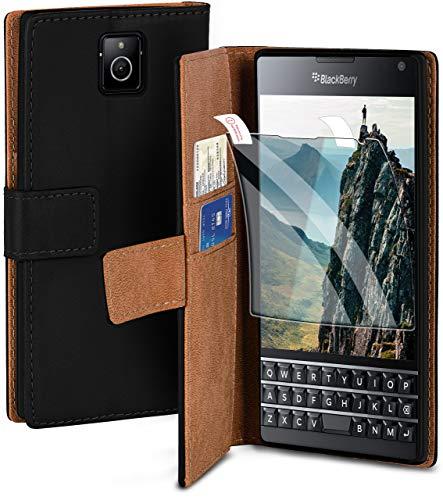 moex Handyhülle für BlackBerry Passport - Hülle mit Kartenfach, Geldfach & Ständer, Klapphülle, PU Leder Book Hülle & Schutzfolie - Schwarz