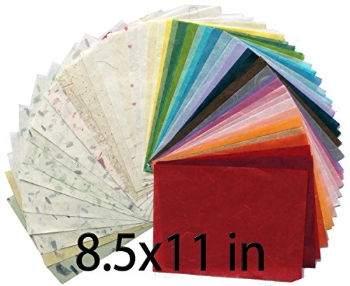 MulberryPaperStock 65 Hand Made Tissue Mulberry Paper Sheets Natural Fiber 8.5 x 11-inch Design for Japanese Origami and Hand Craft Include Red Green Blue Yellow Color