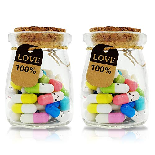 100 Pcs Capsule Letters Message in 2 Glass Bottles,Love Letter Half Color Pill for Valentine's Day, Birthday, Mother's Day Gift