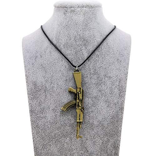 BUYAO Halskette Anhänger Pendant Necklace Vintage Gold Ak-47 Necklace Men's Jewelry Gift,A